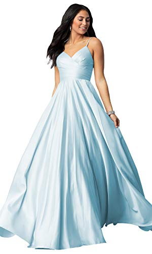 WuliDress Women's Long Spaghetti Strap V Neck A Line Bridesmaid Dress Satin Prom Formal Ball Gown Ruched Bodice Light Blue Size 4 ()