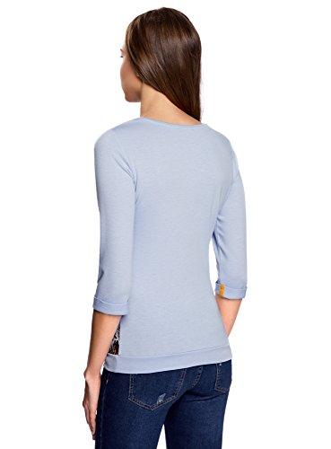 oodji Ultra Mujer Suéter con Estampado Étnico Azul (7052P)