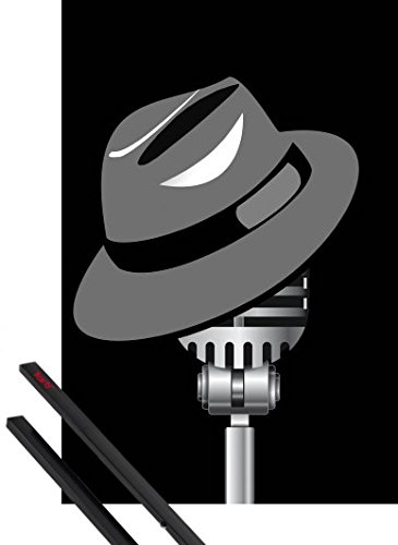 1art1 Poster + Hanger: Music Poster (36x24 inches) Fedora Hat and Microphone and 1 Set of Black Poster Hangers