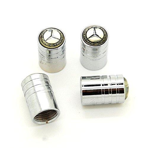 Lot de 4 bouchons de valves chromés avec logo - Mercedes