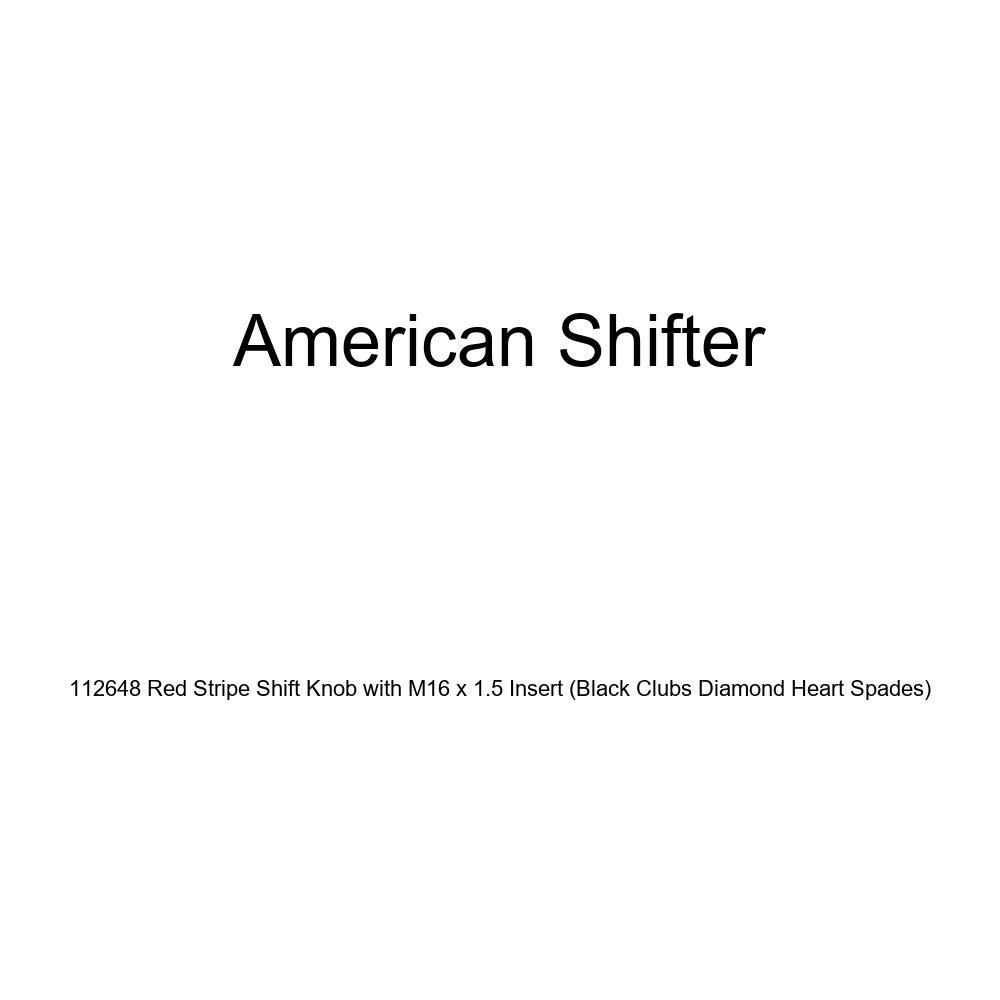 American Shifter 112648 Red Stripe Shift Knob with M16 x 1.5 Insert Black Clubs Diamond Heart Spades