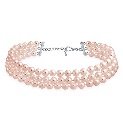 Bling Jewelry Bridal Hand Knotted 3 Row Wide Pink Simulated Pearl Strand Choker Collar Necklace for Teen for Women Silver Plated