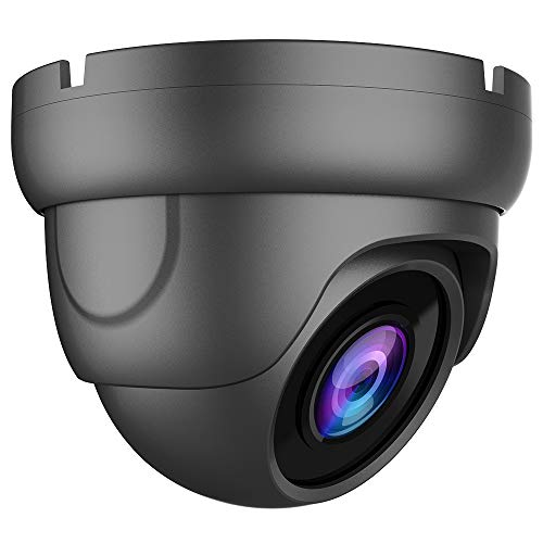 Bright Clear Night Vision 5MP HD TVI/AHD, 4MP CVI Wide Angle Dome CCTV Security Camera, Honic 2.8mm Lens Indoor Outdoor IR Waterproof Analog Surveillance Camera (Metal, Grey)