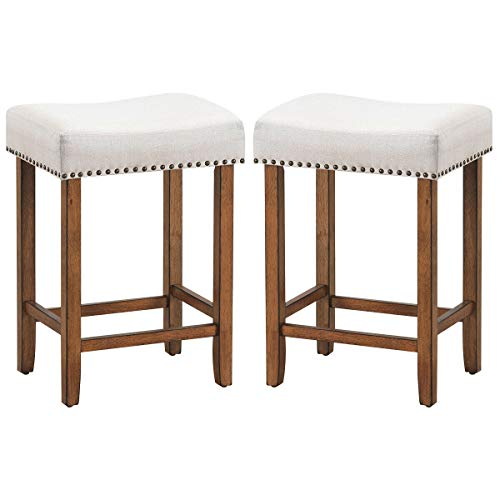 lunanice Office Bars Cafes Shop Home Beige Set of 2 Nailhead Saddle Bar Stools Size 17.5Lx13.5Wx24H inch Fabric Seat&Wood Legs Classic Brass Nailhead Decor Weight Capacity 264lbs Kitchen Bedroom (Vintage Toledo Barstool)