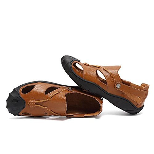 Shoes Brown KAI Sandali Leather Uomo LE Baotou Shoes da LE Outdoor Casual Sandali xqwgFxOn7f