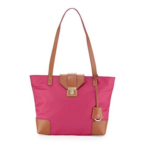 Tory Burch Fuchsia Luggage Dark Pink Bag Nylon & Leather Penn MINI Tote