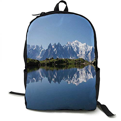 Lake Unisex classic backpack Mont Blanc Mountain Range Reflected in Cheserys Lake Alps France Panorama Suitable for 16-inch laptops 16.5 x 12.5 x 5.5 Inch Pale Blue White Green