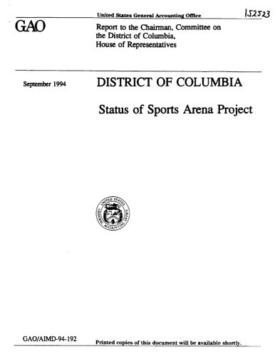 District of Columbia: Status of Sports Arena Project