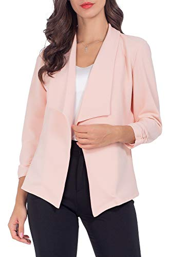 - AUQCO Casual Open Front Blazer for Women Work Office Business Jacket Ruched 3/4 Sleeve Lightweight Draped Cardigan