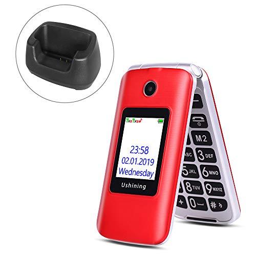 Ushining 3G Unlocked Senior Flip Phone Dual SIM Card FM Radio GSM Unlocked Flip Phone 2.8