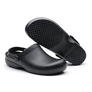 "INiceslipper Unisex Anti-Slip Chef Clog Oil Water Resistant Work Shoes Beach Shoes (6 US/9.3"" Len)"