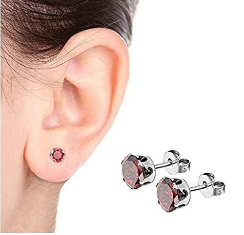 Earrings, Jsmoris 316 Surgical Stainless Steel Womens Cubic Zirconia Stud Earrings Multicolor Set Ear Piercing 8 Pairs