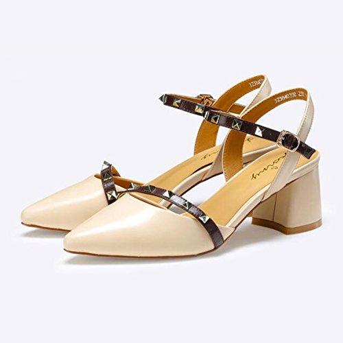 Chaussures Femelle D'été Ceinture Sandales Haut Sandales Sauvage Épais Abricot Jingsen Talon Rivet Commuter Taille avec Femelle 38 Abricot Couleur Pointu Boucle x1wzIt