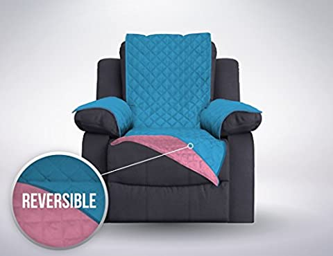 The Original SOFA SHIELD Reversible Slipcover Furniture Protector, Features 2 Inch Elastic Strap (Recliner Oversized: Sky - Over Dual Reclining Loveseat