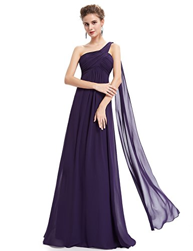 Ever-Pretty Womens One Shoulder Empire Waist Long Prom Dress 6 US Purple ()