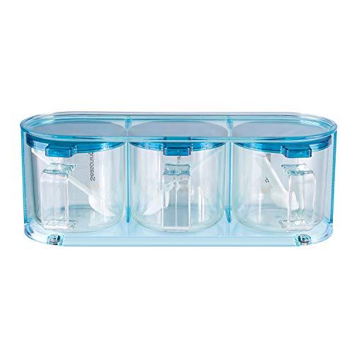 (Airtight Plastic Seasoning Box Set, Spice Jars Kitchen Spice Rack Salt Sugar Spice Pepper Condiment Container Kitchen Cruet Seasonings Tools with Plastic Spoon Cover Pedestal, 1PC Set, blue)