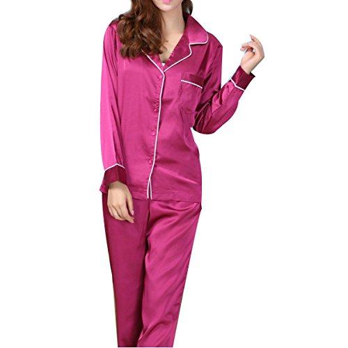 WS @ WX1023 Sra. Pijama De Seda De Manga Larga Purple