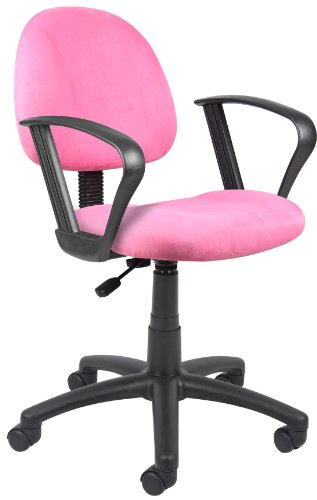 Boss Office Products B327-PK Perfect Posture Delux Microfiber Task Chair with Loop Arms in Pink by Boss Office Products