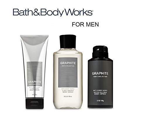 BATH AND BODY WORKS, GIFT SET GRAPHITE FOR MEN ~ BODY WASH ~ BODY CREAM AND DEODORIZING BODY SPRAY- FULL ()