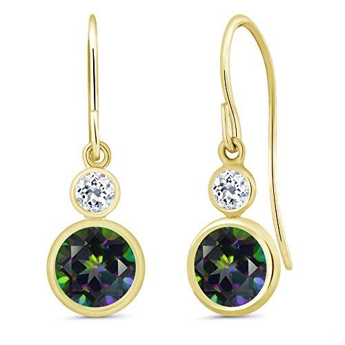 - 2.28 Ct Round Green Mystic Topaz White Topaz 14K Yellow Gold Earrings