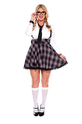 (5 PC. Ladies High Class Nerdy Plus Size Costume Set - 1XL/2XL-)