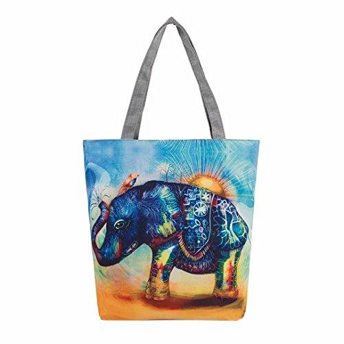Main Sacs F épaule BZLine® Sac d'éléphant à en Motif à à Taille Femme Toile 37×8×27CM BYwwptq