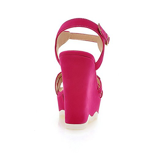 Buckle Sandals Open Solid WeenFashion Frosted Toe High Red Heels Women's SWgW0