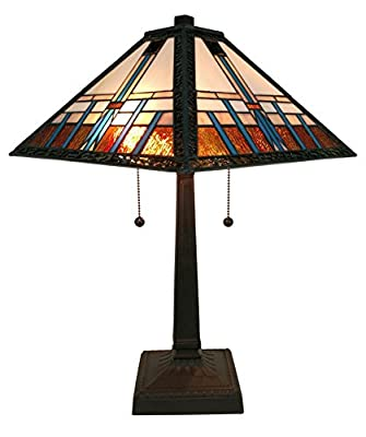Amora Lighting AM239TL14 Tiffany Style Mission Table Lamp 21 In High