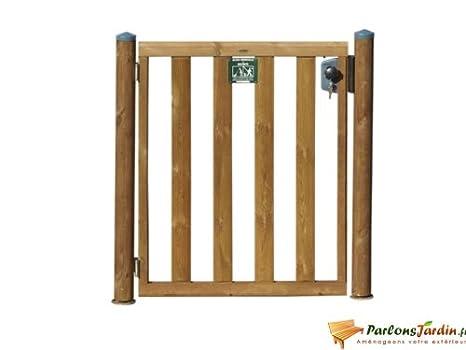 Portillon en bois pour clôture de piscine L95cm: Amazon.fr ...