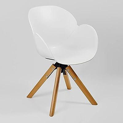 Awe Inspiring Amazon Com Kline Beechwood Swivel Accent Chair White Alphanode Cool Chair Designs And Ideas Alphanodeonline