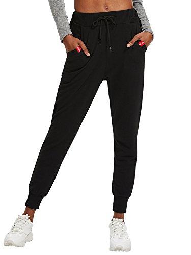 - SweatyRocks Women Pants Color Block Casual Tie Waist Yoga Jogger Pants Black #8 XL
