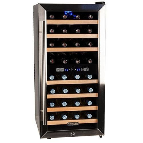 Koldfront 32 TWR327ESS Bottle Free Standing Dual Zone Wine Cooler - Black and Stainless Steel