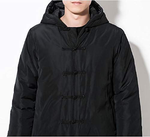 Long Hoodies TTYLLMAO Frog Men Puffer Jacket Black Padded Vintage Embroidery Warm Button qrHzxBqw8