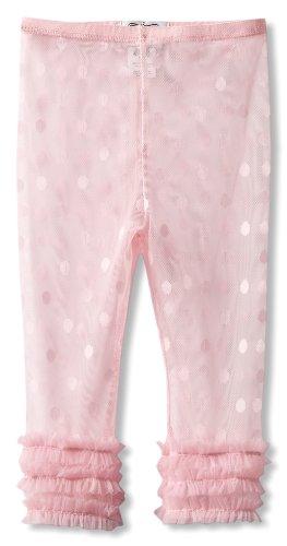 Mud Pie Little Girls' Polka Dot Lace Ruffle Capri Legging, Pink, 5T
