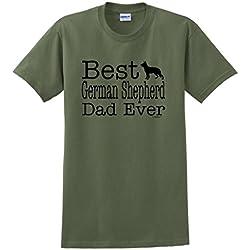 ThisWear Dog Lover Gift Best German Shepherd Dad Ever T-Shirt XL MlGrn