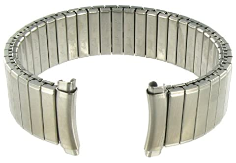 16-19mm Curved End Speidel Twist-O-Flex Silver Tone Stainless Steel Expansion Watch Band 1532/02 - Curved Twist
