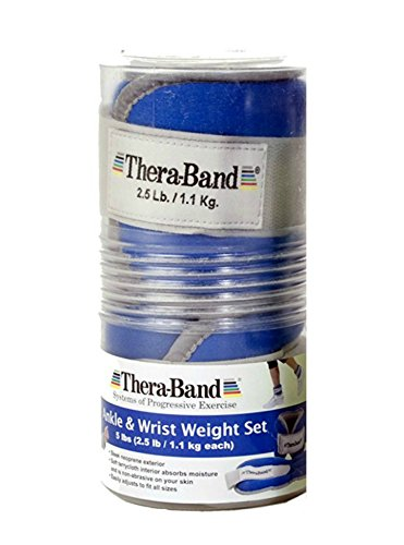 Thera Band Comfort Fit Ankle/Wrist Cuff Weight Sets Sold in Pairs 5lbs Blue, (Old Version)