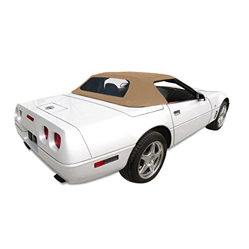 (AutoBerry Fits: Chevrolet Corvette Convertible Soft Top With Plastic Window Tan Stayfast Cloth (1986-1993))