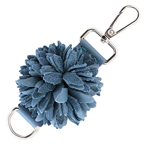 Genuine Leather Handmade Pom Pom Charms   Key Ring Keychain   for Tassel Bags Purse Backpack (Denim Blue - Pom Pom)