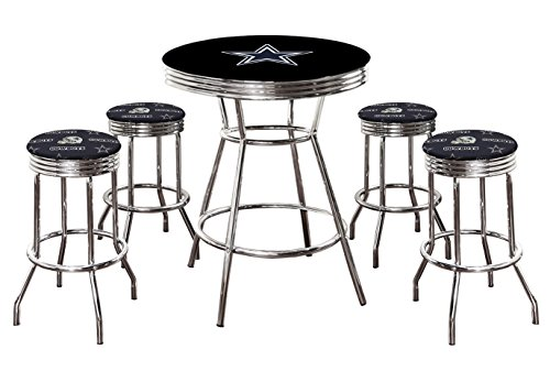 "5 Piece Pub/Bar Table Set with 4 – 29"" Swivel Stools Featuring the Sports Team Theme Of Your Choice! (Cowboys) For Sale"
