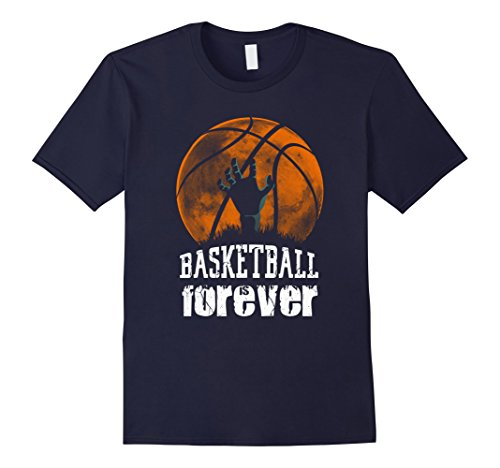Mens Basketball is Forever! Funny Zombie Basketball Halloween Tee 2XL Navy