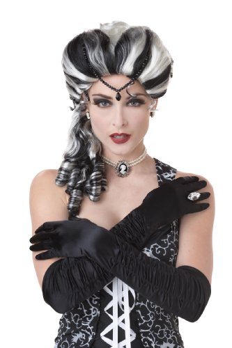 Victorian with Side Curls Wig, Black/White