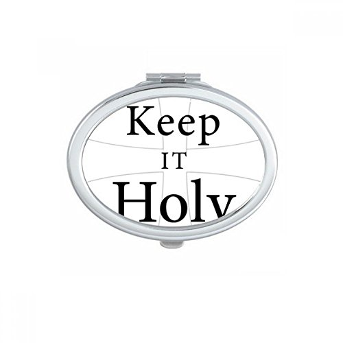 DIYthinker Keep It Holy Bible Quote Shabbath Oval Compact Makeup Pocket Mirror Portable Cute Small Hand Mirrors Gift by DIYthinker