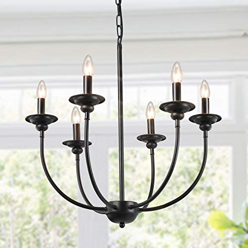 LALUZ 6-Light Transitional Chandeliers Pendant Lights for Dining Room, Oil Black, 24.4 H x 23.6 W