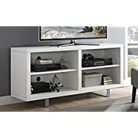 WE Furniture 58' Simple Modern TV Console with Metal Legs - White