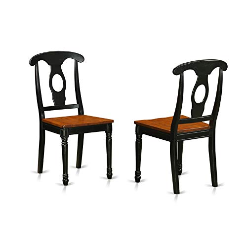 (East West Furniture KEC-BLK-W Kitchen/Dining Chair Set with Wood Seat, Set of 2)