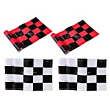 MagiDeal 4pcs 18x12cm Golf Practicing Training Flag Nylon Putting Green Solid Chequered Flags