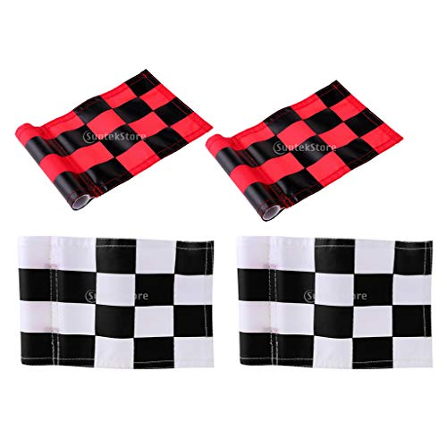 MagiDeal 4pcs 18x12cm Golf Practicing Training Flag Nylon Putting Green Solid Chequered Flags by Unknown (Image #10)