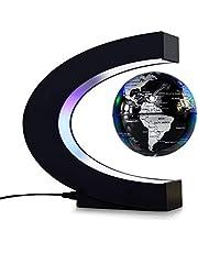 Domary Globo flutuante de levitação magnética de 3 polegadas com base em forma de C LED Luzes para decoração de mesa de escritório doméstico