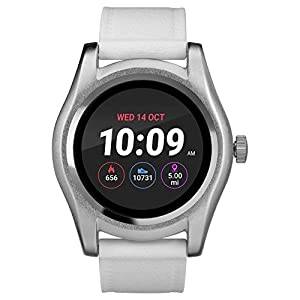 iConnect by Timex TW5M31700 Classic Round Silver-Tone Smartwatch, White Silicone Strap